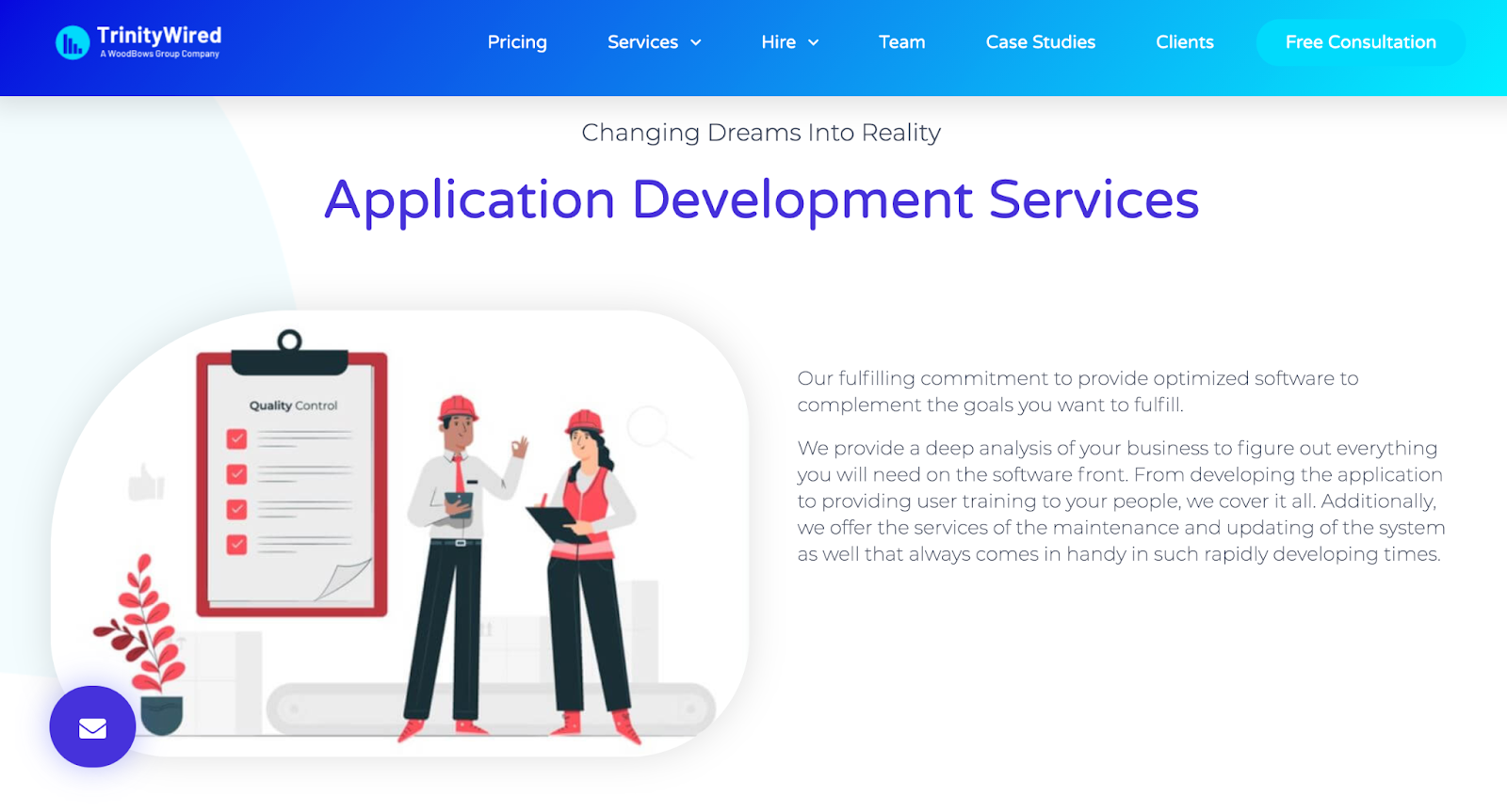 TrinityWired website – software outsourcing company in india