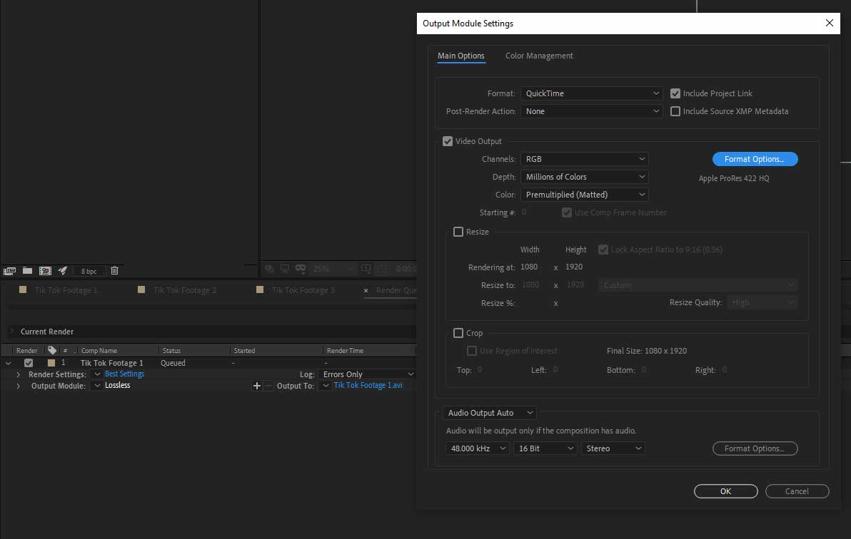 render panel after effects