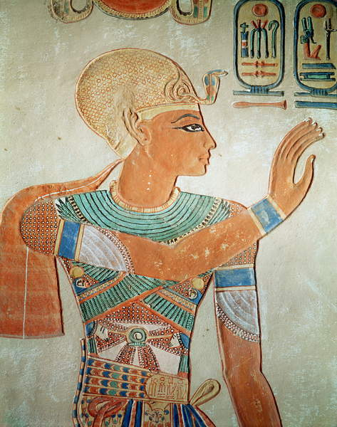 Image - Portrait of Ramesses III (c.1184-1153 BC) from the Tomb of Amen-Her-Khepshef, New Kingdom (wall painting), Egyptian 19th Dynasty (c.1292-1187 BC) / Egyptian, Valley of the Queens, Thebes, Egypt © Bridgeman Images