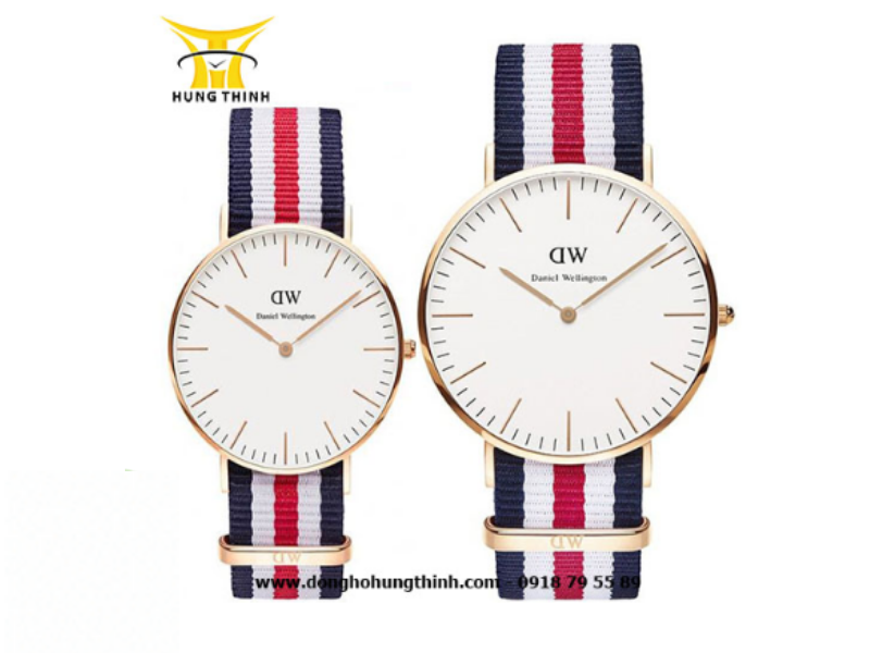 Mẫu cặp đồng hồ DW dây vải chính hãng với phối ba màu cực thú vị, đáng yêu: xanh, trắng, đỏ (Chi tiết sản phẩm tại đây)