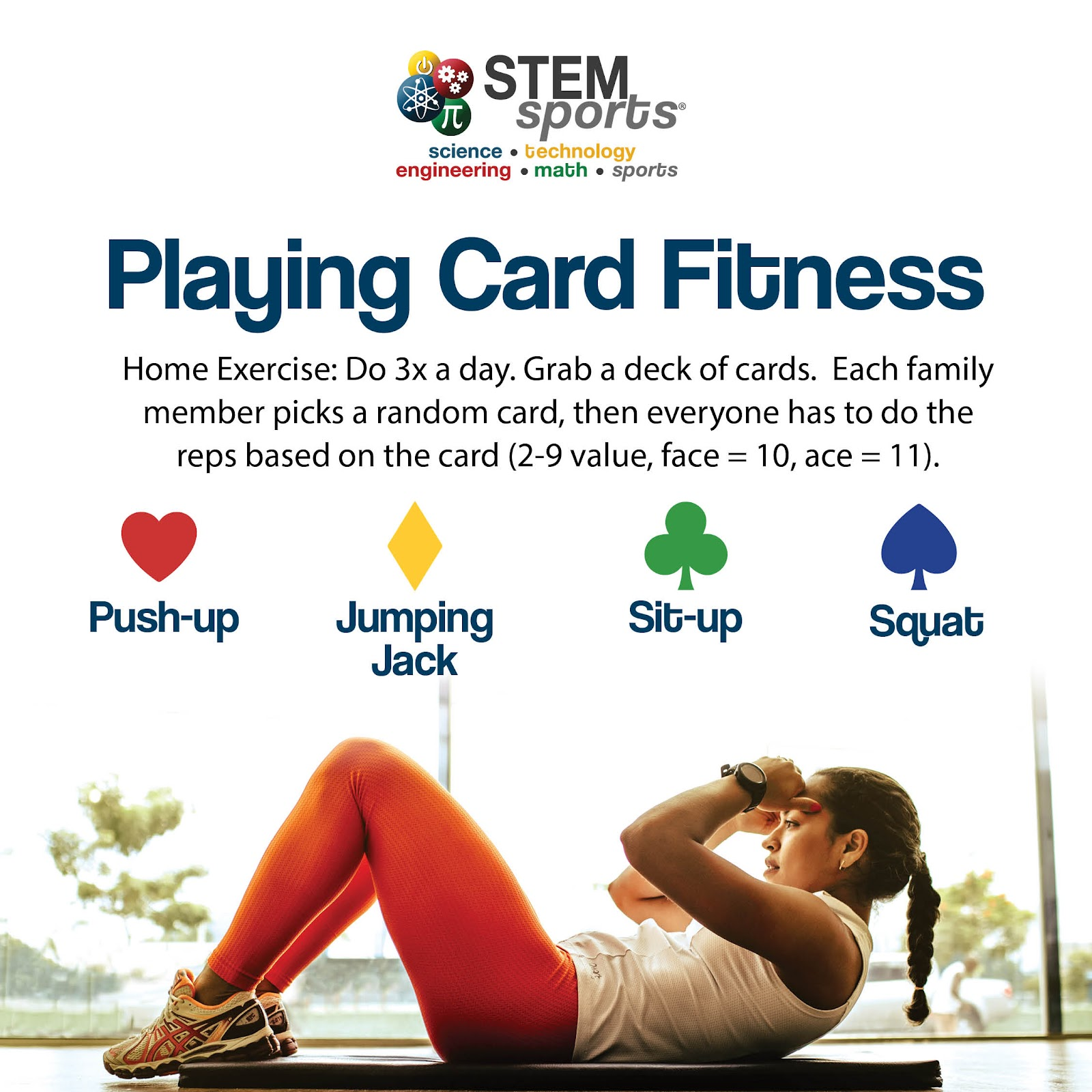 STEM Sports Playing Card Fitness at-home workout.