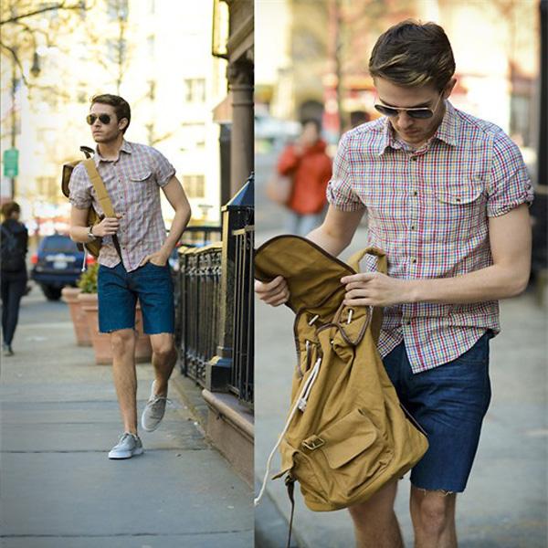 phồi đồ với quần short jean nam