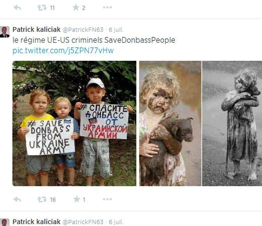 Tweet contenant des photos d'enfants reliées à la guerre en Ukraine