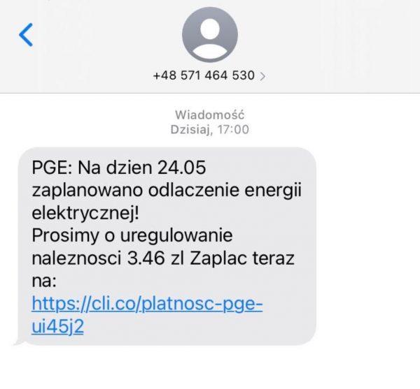 Fałszywe SMSy od PGE