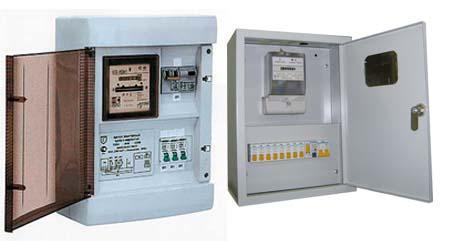 Щитки из пластика и металла, оснащенные прозрачными дверцами или окошком для снятия показаний электросчетчика