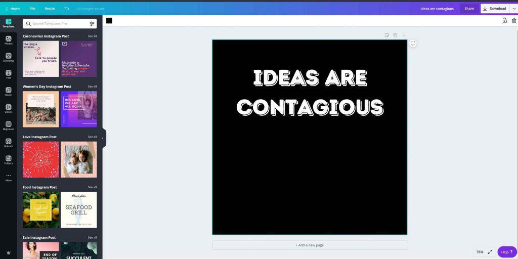 Canva design that says Ideas Are Contagious