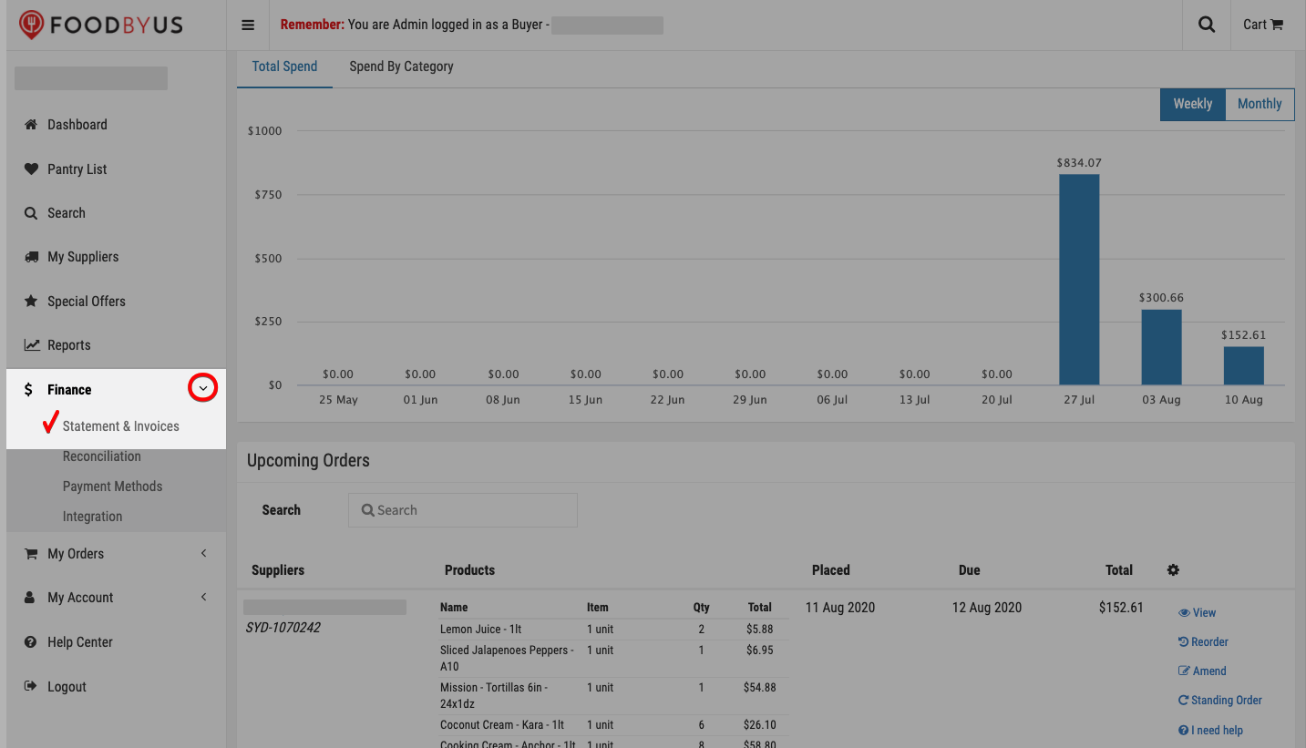 FoodByUs_dashboard_statement_and_invoices