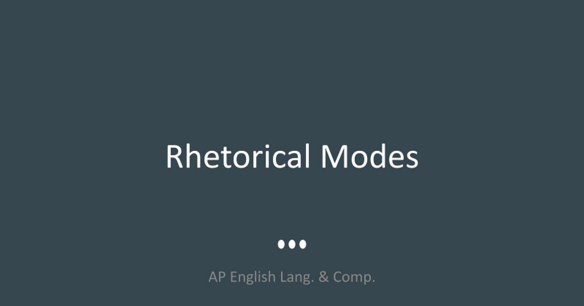 Ap Rhetorical Modes Google Slides