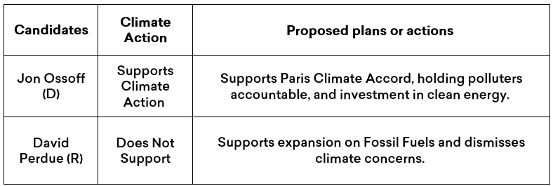 Summary of Jon ossof and david Perdue's climate plans