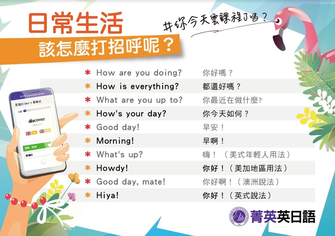 日常生活十種英文打招呼!高雄英文補習班