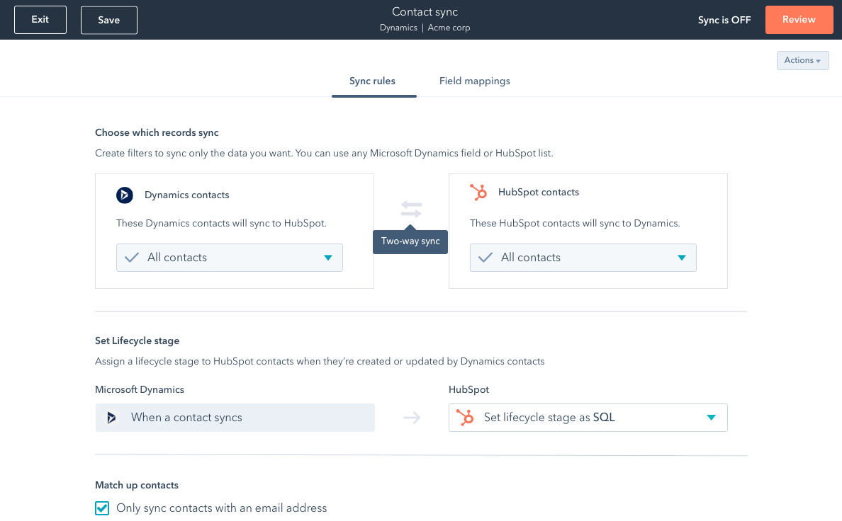HubSpot screenshot showing data sync rules