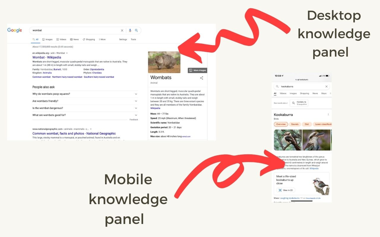 Knowledge panel on desktop and mobile