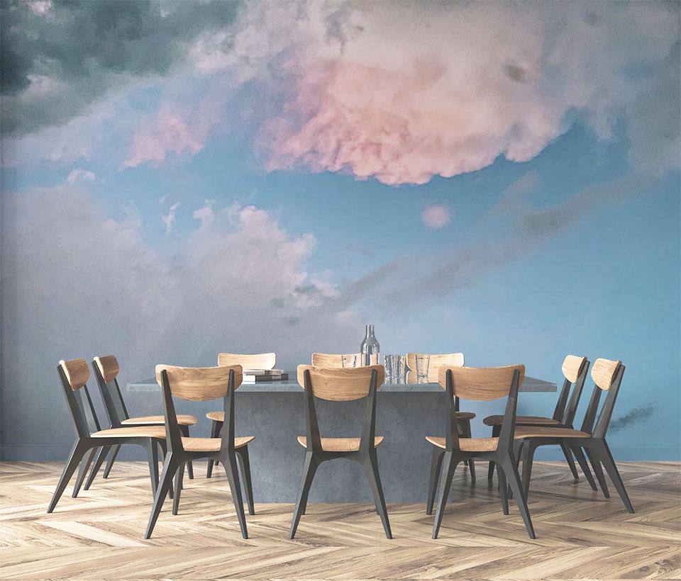 Фотообои небо с тучами в интерьере столовой