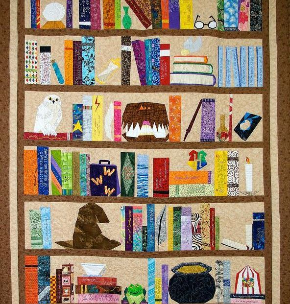 Quilt Featuring Bookshelf Stacked with Books and Other Objects