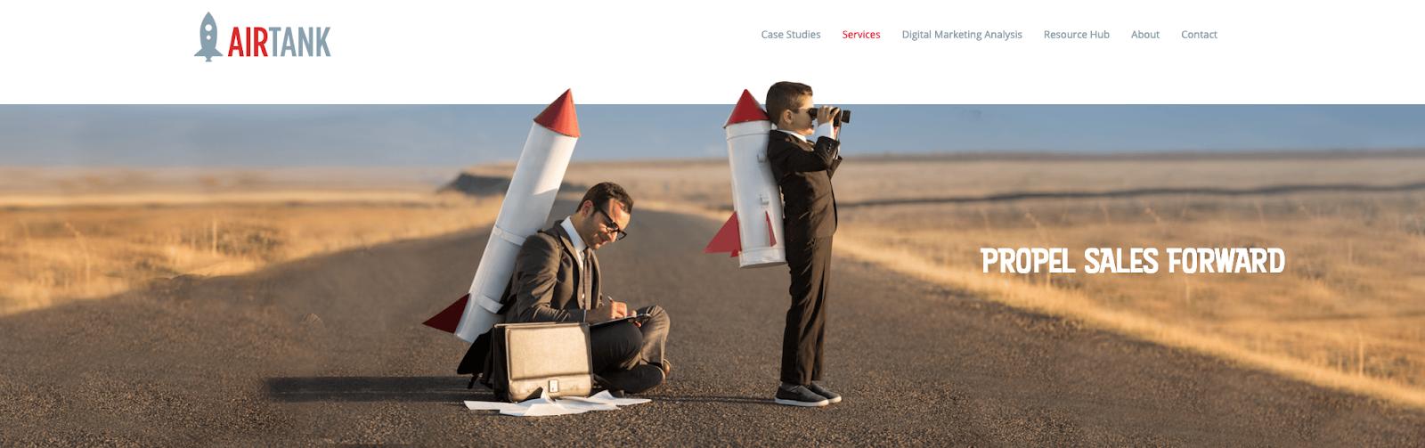 Screenshot of Airtank homepage
