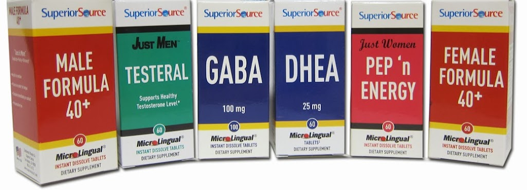 Superior Source DHEA, GABA, 40+, Pep 'n Energy & Testeral