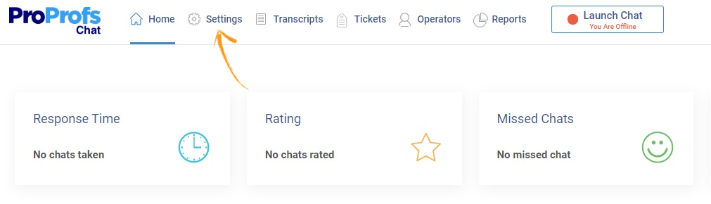 Click on 'Settings' on your ProProfs Chat dashboard