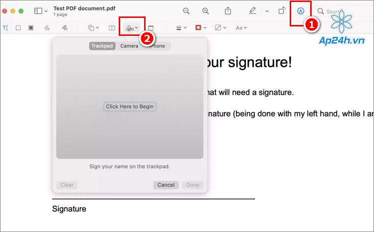 Nhấn vào công cụ Signature trên thanh công cụ