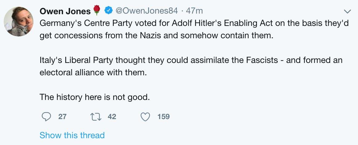 Owen Jones notes that the Centre party voted for Hitler's Enabling Act as if this implicated centrists.