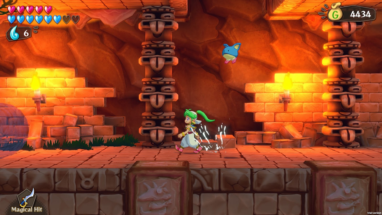 Screenshot 2 - Asha running in fiery level