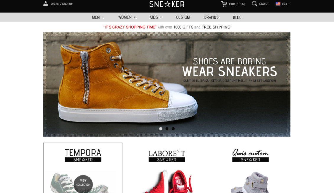 Opencart Fashion Shoes Store- Sneaker