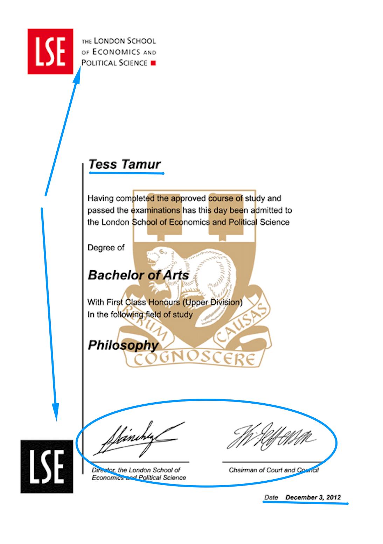 LSE certificate design template