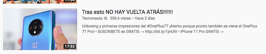 Ejemplos de clickbait en YouTube: «Tras esto no hay vuelta atrás»