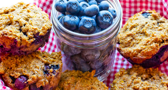 Honey Blueberry Bran Muffins