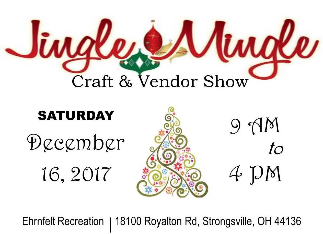 Jingle Mingle Craft and Vendor Show tex banner indicating that the event will take place on December 16 from 9am to 4pm