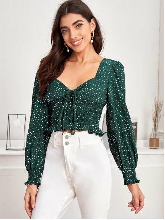 SHEIN polka dot blouse