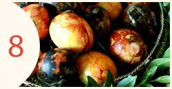 Margučiai su juodalksnio žievėmis ir svogūnų lukštais
