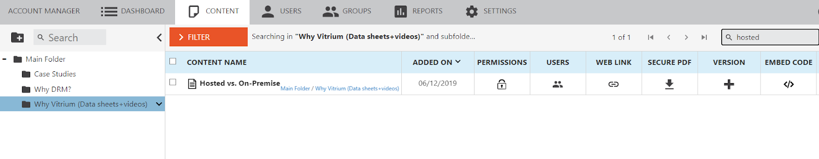 Vitrium Search Capabilities