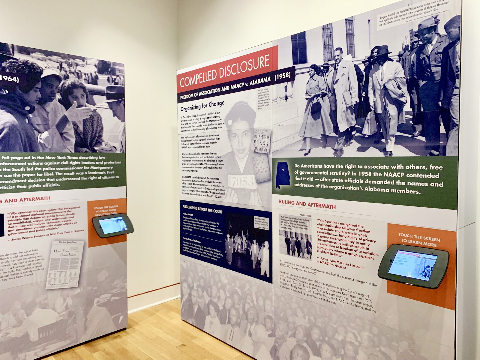 The traveling, interactive exhibit Alabama Justice: The Cases and Faces That Changed A Nation at the Vulcan Museum