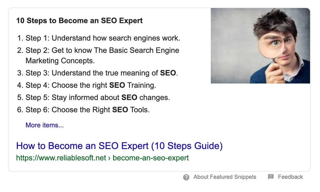 List of posts in Google Featured Snippets