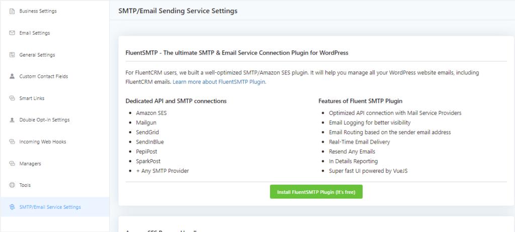 FluentCRM settings, FluentCRM SMTP/Email Service Settings