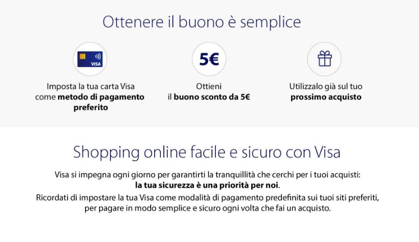 guida su come ottenere il buono sconto 5 euro con Visa card