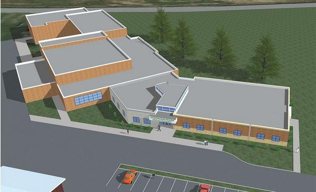 This is an architect's rendering of what Conotton Valley Union Local Schools near Bowerston will look like after a $2.48 million addition is completed.