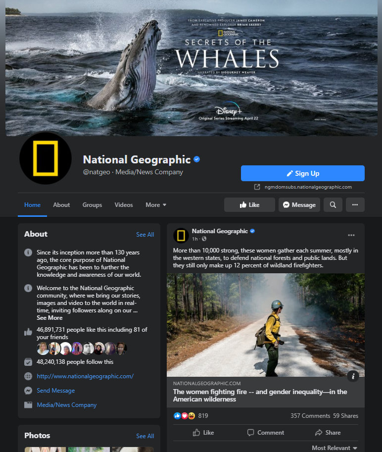 national geographic facebook page example