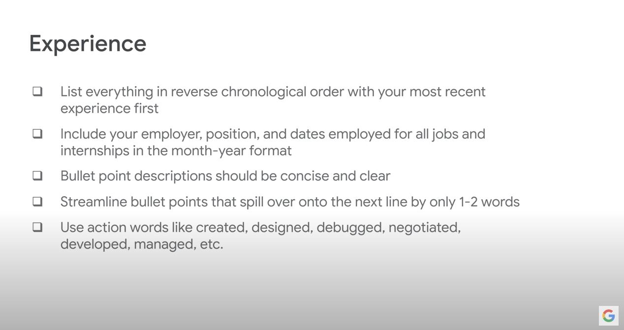 Google Resume Advice: Experience
