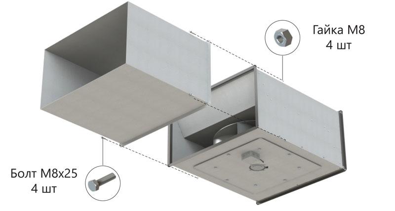Пример монтажа канального вентилятора ASF