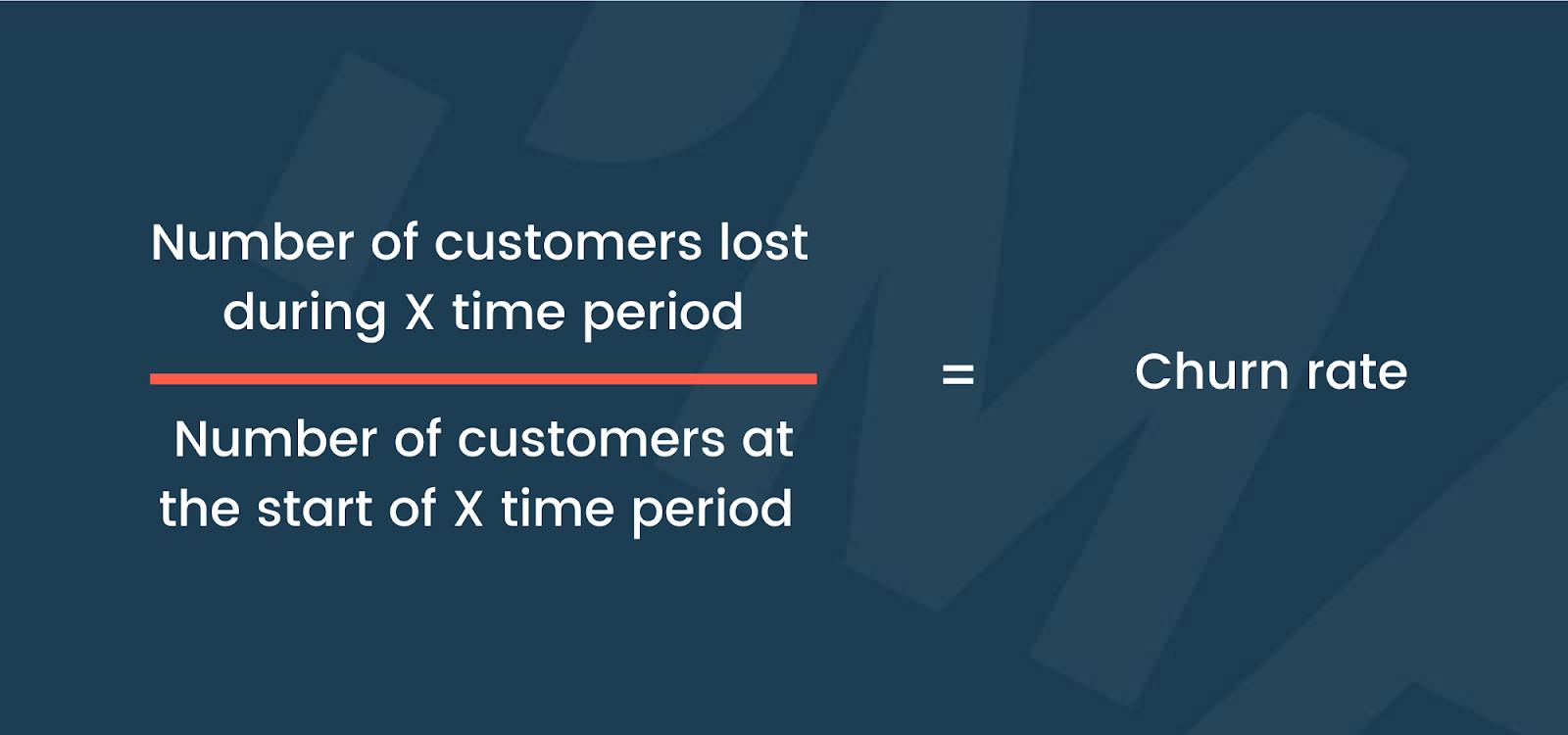Formula for calculating customer churn rate.