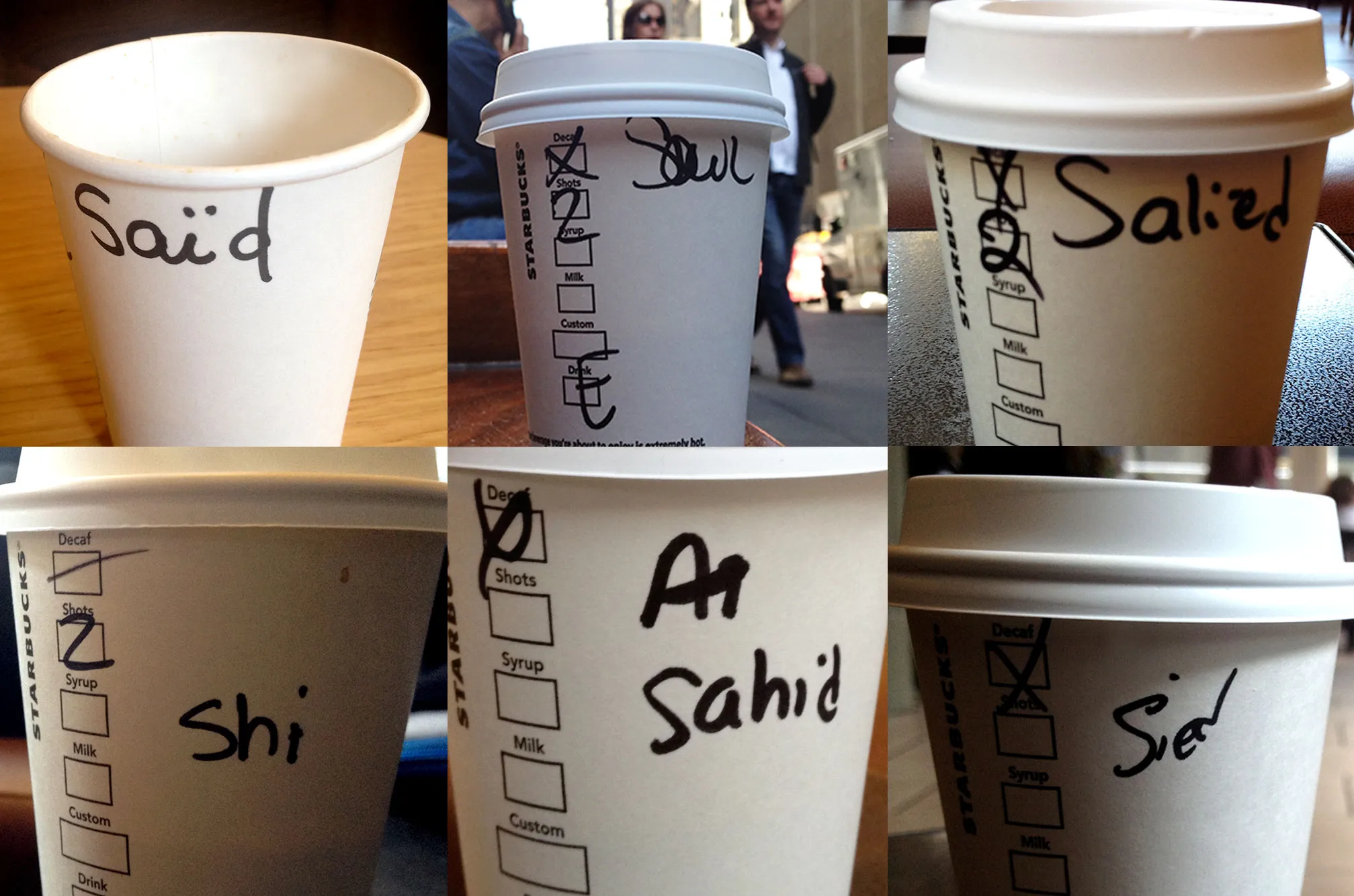 Examples of names written wrongly on Starbucks cups.