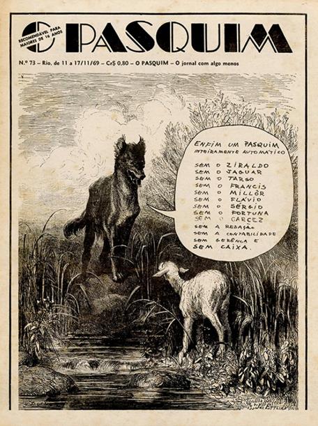 Capa da revista O Pasquim, com ilustração como metáfora à censura que os jornalistas estavam sofrendo.