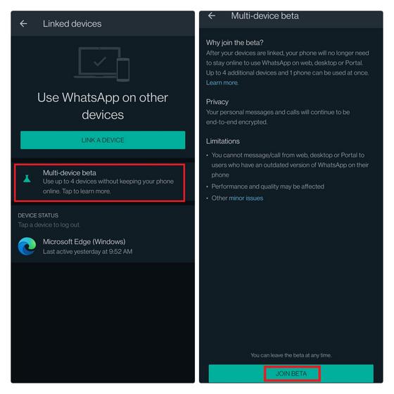 join whatsapp multi-device beta