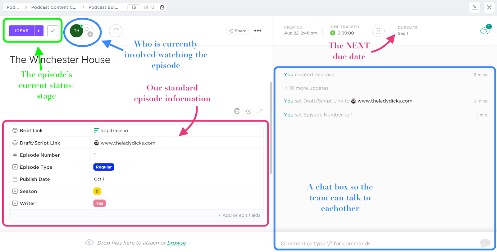 Screenshot of a ClickUp task window.