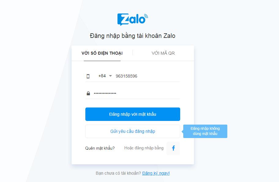 Đăng nhập zalo trên máy tính bằng cách gửi yêu cầu đăng nhập