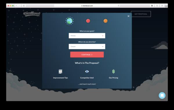 Fenêtre pop-up de proposition sur la page de destination