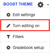 Turn editing on in the administration block in boost theme.