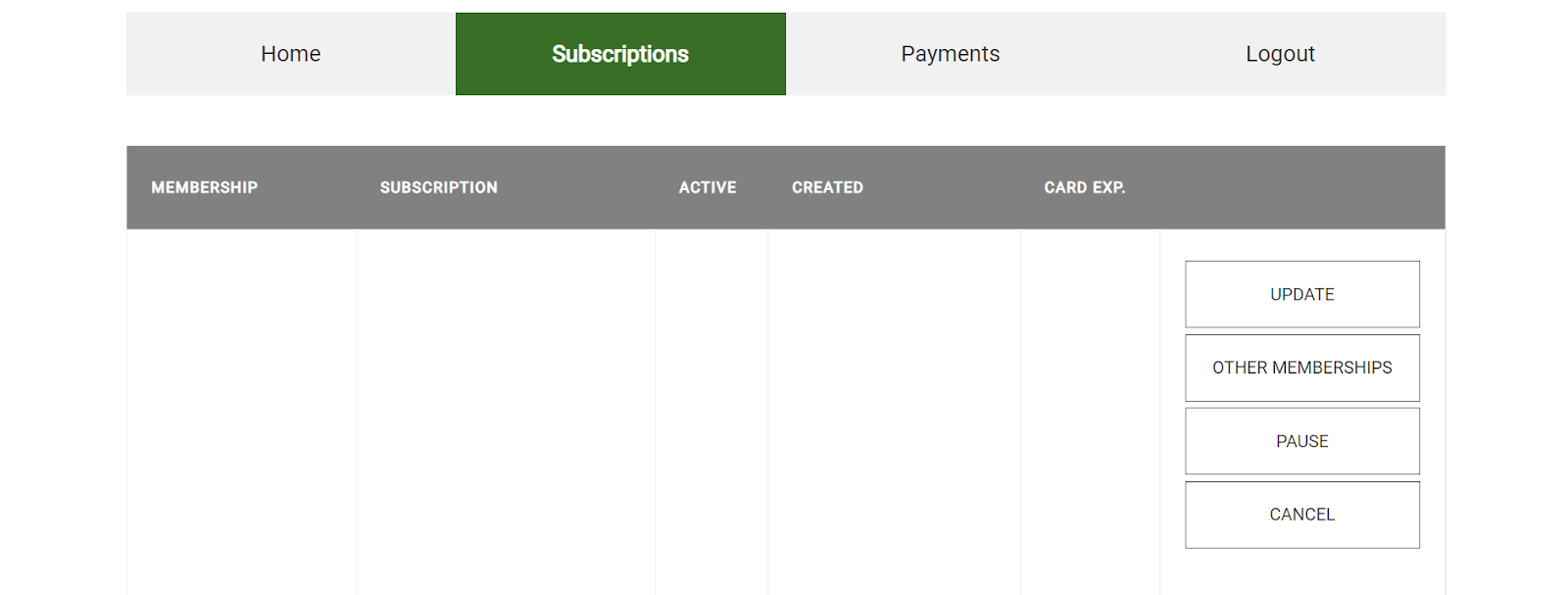 screenshot of the subscriptions area of your account