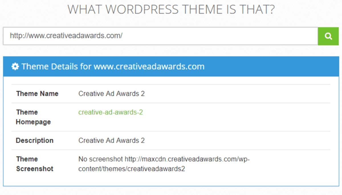 Imagem exibe exemplo de busca feita no What WordPress Theme is That